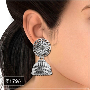 Oxidised Jhumki Earrings For Every Party @ Rs.179/- Shop Now : https://goo.gl/Qtd8t8 #Afghani #Earrings #Oxidised #party #Jewellery #JewelMaze