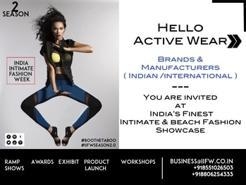 Hello...Active Wear / Sports Lingerie Brands and Manufacturers. You are invited to participate/associate at India's biggest Intimate Fashion Exhibit & Ramp Rendezvous at India Intimate Fashion Week's Season 2.0 at +918551026503 /+919028076361 / business@iifw.co.in #IIFW #IIFWIndia #IndiaIntimateFashionWeek #IIFWSeason2 #Lingerie #IntimateFashion #BeachWear #SwimWear #BooTheTaboo #ActiveWear #LoungeWear #IndiasFirstEver #LingerieExhibition #IntimateFashion #ShapeWear #ActiveWear #LegWear #Sportslingerie #LingerieManufacturers #LingerieDesigners #LingerieECommerce