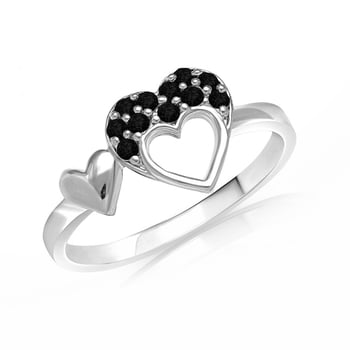 Rhodium Plated Black #swarovskicrystals Double #heart #Love #fingerrings #madeinindia  Buy for Rs.319/- COD Available Size Available : 10,12,14,16 Brass Alloy Gold Plated #fashionjewelry ; #swarovskizirconia #fingerrings  Link : https://www.mahijewellery.com/finger-rings/heart/swarovski-crystals-black-heart-double-love-ring.html Call  : 7718862092