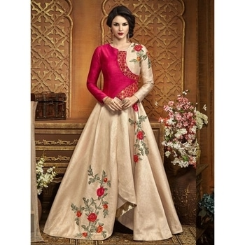 Beige Raw Silk Embroidered Semi Stitched Gown  SHOP NOW : http://bit.ly/2x0513n  #be-fashionable #ropo-love #trendy #fashion #designer #beauty #fashionblogger #followme #newdp #roposo #love #soroposo #blogger #wordpower #fleaffair #gown #beautifulgown #floralgown #pinkgown  #pinked