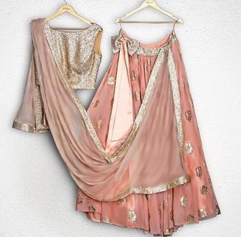 Made to order custom design outfit Peach crop top lehenga CODE : PT 315 Fabric : Satin georgette+work fabric Work : Gota patti+sequins Price : Rs. 14,299 Contact : 8779965613 (whatsaap)/02228661616) Email : designer@ninecolours.com  #youdesign #threadwork #sequinsworks #zariwork #shimmer #stylish #instagood #instafashion #fashionable #beautiful #lehenga #buyonline #buy #instalove #fabulous #trending #instalike #mumbaigram #indianfashion #indianstreetfashion #partywear #fashionlove #indianstyling #goodmood #good #happy