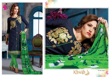 Get the most graceful look with this outstanding blue suit paired green churidar & fancy green designer dupatta!  #khwaish #khushika #salwarsuit #designersuits #stylishlook #designer-wear #navyblue #green #churidarsuits #semi-stitched