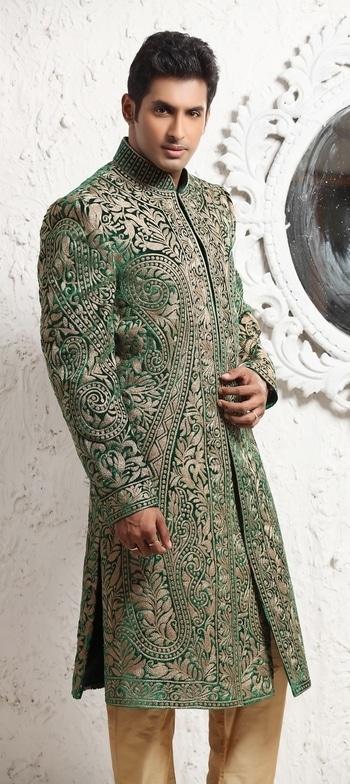 MENS WEDDING SHERWANI GREEN COLOUR #customade sherwani #green color #wedding #pakistanistylesherwani #resham #onlinestore #gravityfashion