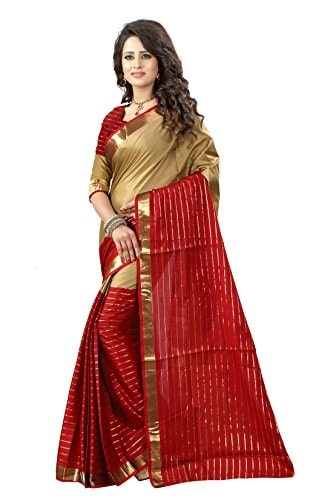 Shree Sanskruti Poly Cotton #Maroon and Chikku Color Traditional #Banarasi #Saree @ Rs.549. Buy Now at http://bit.ly/2xcJ8Of