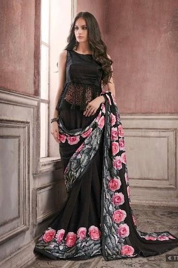 Georgette Saree In Black Colour Product Code : SR0512224 Price : Rs2,034 Fabric : Georgette Work : Lace Work Digital Print Occasion: Party Wear Content: Unstitched Blouse Saree #ninecolours #ninecoloursmumbai #partywear #blacksaree #black #digitalprint #peplum #indianfashion #indianstreetfashion #saree #sareelove #buyonline #buy #roseprint #classy #georgette #georgettesaree #lovesaree #indianwear #instalove #instalook #instagood #elegance #trendingnow #womenfashion