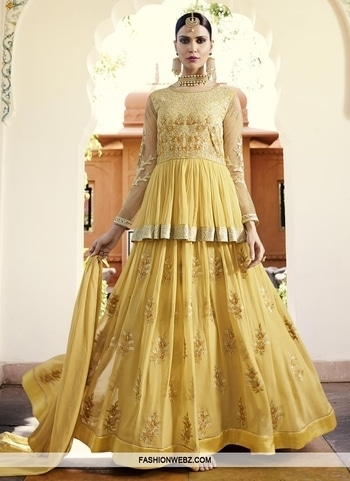 FAUX GEORGETTE EMBROIDERED WORK LONG LENGTH DESIGNER SUIT Be the sunshine of every person's eyes dressed in this #yellow faux #georgette #longlength #designer #suit. The #embroidered, lace, #resham, stone and zari work seems chic and #perfect for any affair.  Product Code: 43801 Rs7,616 Checkout @ https://goo.gl/m5afE2 #latestfashion #clothing #indian #fashion #design #salwarkameez #longlength #boutique #boutiqueshopping #online #onlineshopping #womensfashion #wedding #richcolor #occasion