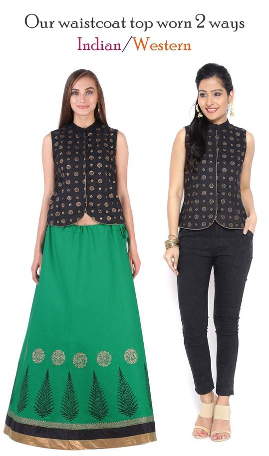 Our waistcoat top worn 2 ways!  http://bit.ly/2xcYJfl  #9rasa #studiorasa #ethnicwear #ethniclook #fusionfashion #online #fashion #waistcoat #top #worn #indian #western
