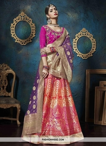 JACQUARD SILK TRENDY LEHENGA CHOLI Be the sunshine of everybody's eyes dressed in this #beautiful #fuchsia #jacquard #silk trendy #lehengacholi. The #ethnic #embroidered, lace and #resham work with the attire adds a sign of elegance statement for the look.  Product Code: 43827 Rs10,455 Grab @ https://goo.gl/dGhHYn #indianethnic #fashionable #womenswear #bridalwear #beautiful #lehengadesign #designerwear #womenfashion #onlineshopping #shopping #online #onlineboutique