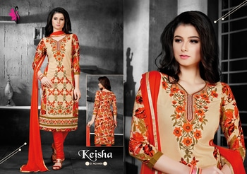 Brighten up your look with season in this printed pattern cotton churidar suit.  #khwaish #khushika #printedsuit #embroideredsuit #cotton #casual #womensfashion #churidarsuit #semistitched