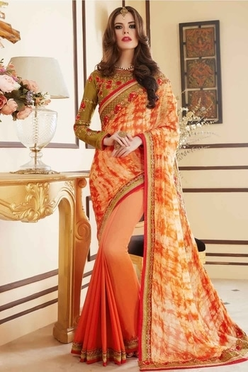 Georgette Half N Half Saree In Orange Colour Product Code : SR1652152 Price : Rs3,331 Fabric: Georgette Color: Orange Work: Embroidery Style: Half N Half Saree Content: Unstitched Blouse | Saree #ninecolours #ninecoloursmumbai #orangesaree #halfnhalfsaree  #orange #festiveoffer #embroidery #buy #buyonline #instalook #instagood #indianstreetfashion #indianfashion #gorgeoussarees #georgette #indianwear #sareelove #stylingoutfit #like4like #trendingnow
