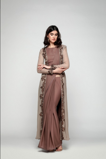 Diya - Brown Jacket Saree A brown georgette jacket with accentuated saree with thread work.  http://bit.ly/2wsRJxx   #roposodiaries #roposodiaries #roposobloggeer #women #womensfashion #style #roposostylefiles #soroposop #saree