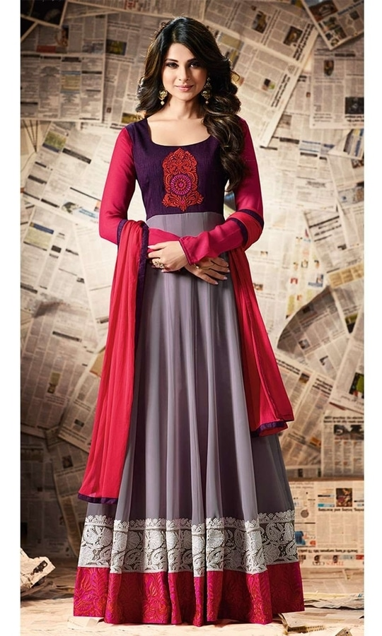 Grey and Purple Party Wear Anarkali Suit  • Party Wear Anarkali Suit • Fabric : Georgette Bangalori Silk • Salwar Fabric : Santoon • Dupatta Fabric : Chiffon • Size : Semi-Stitched (customizable Upto size-44)  SKU: SUEMUG11005 Rs. 3,399  #styles #beauty #love #followme #roposo #fashion #model #indian