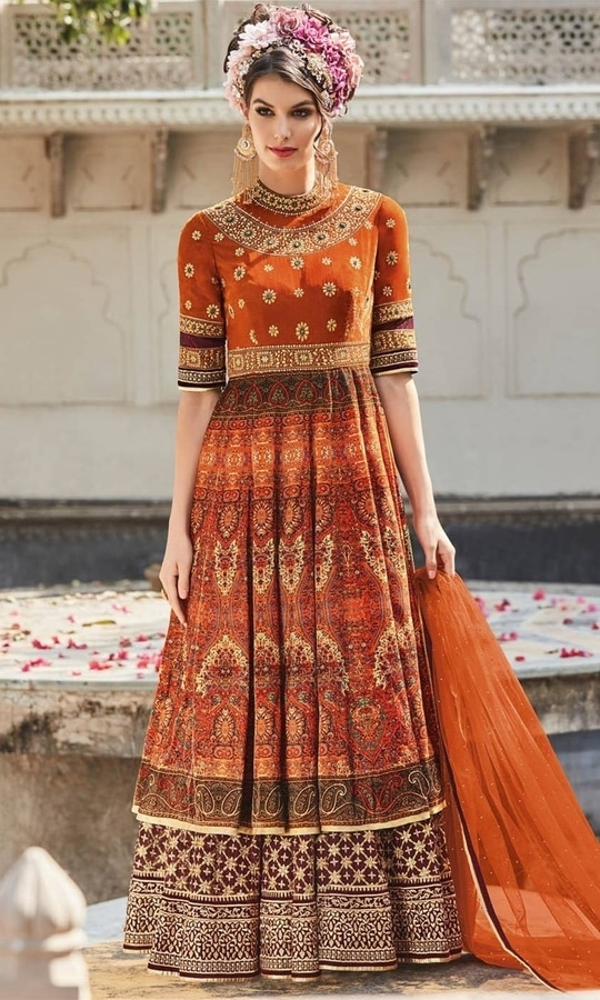 Printed Orange Frock Suit  • Party wear Crepe Frock Suit • Fabric : Crepe • Bottom Fabric : Shantoon • Dupatta Fabric : Chiffon • Size : Semi-Stitched (customizable Upto size-44)  SKU: SUPJDSFL7396 Rs. 6,299.00  #styles #beauty #love #followme #roposo #fashion #model #indian