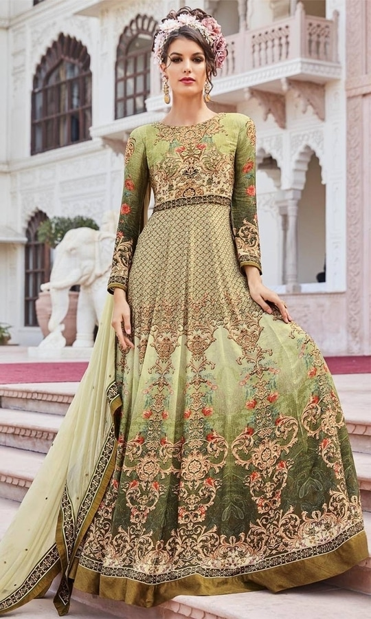 Printed Green Frock Suit  • Party wear Crepe Frock Suit • Fabric : Crepe • Bottom Fabric : Shantoon • Dupatta Fabric : Chiffon • Size : Semi-Stitched (customizable Upto size-44)  SKU: SUPJDSFL7397 Rs. 5,999.00  #styles #beauty #love #followme #roposo #fashion #model #indian