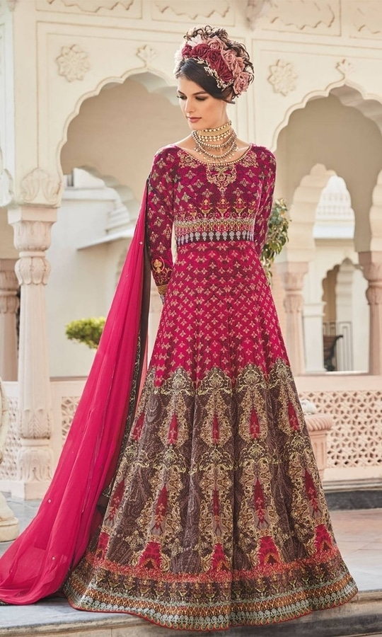 Printed Magenta and Brown Frock Suit  • Party wear Crepe Frock Suit • Fabric : Crepe • Bottom Fabric : Shantoon • Dupatta Fabric : Chiffon • Size : Semi-Stitched (customizable Upto size-44)  SKU: SUPJDSFL7391 Rs. 6,499  #styles #beauty #love #followme #roposo #fashion #model #indian