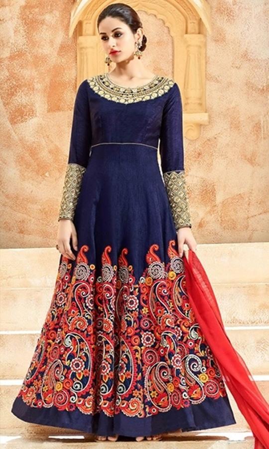 Blue Floor Length Anarkali Suit  • Floor Length Anarkali Suit • Fabric : Dupion • Salwar Fabric : Shantoon • Dupatta Fabric : Chiffon • Size : Semi-Stitched (customizable Upto size-44)  SKU: SUEKKHL7224 Rs. 6,699.00  #styles #beauty #love #followme #roposo #fashion #model #indian