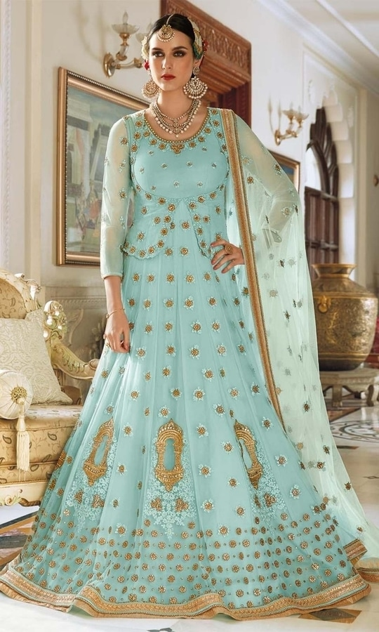 Turquoise Party Wear Floor Length Designer Suit  • Party Wear Floor Length Designer Suit • This Dress can also be Styled in Lehenga Choli • Fabric : Raw Silk • Salwar Fabric : Raw Silk • Dupatta Fabric : Net • Size : Semi-Stitched (customizable Upto size-44)  SKU: SUEJDSFL7399 Rs. 7,199  #styles #beauty #love #followme #roposo #fashion #model #indian