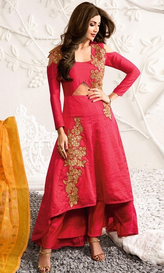 Red Stone Stud Designer Salwar Frock Suit  • Stone Stud Designer Salwar Frock Suit • Fabric : Raw Silk • Bottom Fabric : Brocade • Dupatta Fabric : Jacquard • Size : Semi-Stitched (customizable Upto size-44)  SKU: SUEBRKR1579 Rs. 7,199  #styles #beauty #love #followme #roposo #fashion #model #indian