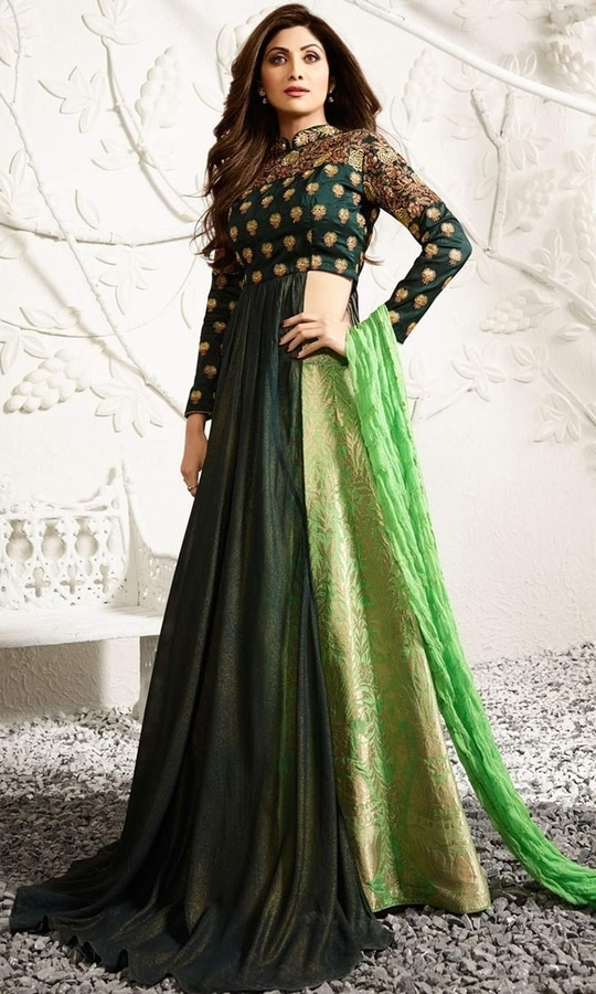 Green Stone Stud Designer Salwar Frock Suit  • Stone Stud Designer Salwar Frock Suit • Fabric : Raw Silk • Bottom Fabric : Georgette • Dupatta Fabric : Chiffon • Size : Semi-Stitched (customizable Upto size-44)  SKU: SUEBRKR1584 Rs. 9,199  #styles #beauty #love #followme #roposo #fashion #model #indian