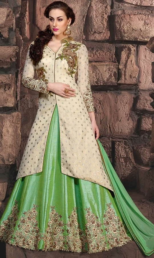 Party Wear Beige and Green Frock Suit  • Party wear Frock Suit • Fabric : Pure Silk and Banarasi Silk • Bottom Fabric : Shantoon • Inner Fabric : Shantoon • Dupatta Fabric : Chiffon • Size : Semi-Stitched (customizable Upto size-44)  SKU: SUEJDSKW10005 Rs. 5,499  #styles #beauty #love #followme #roposo #fashion #model #indian