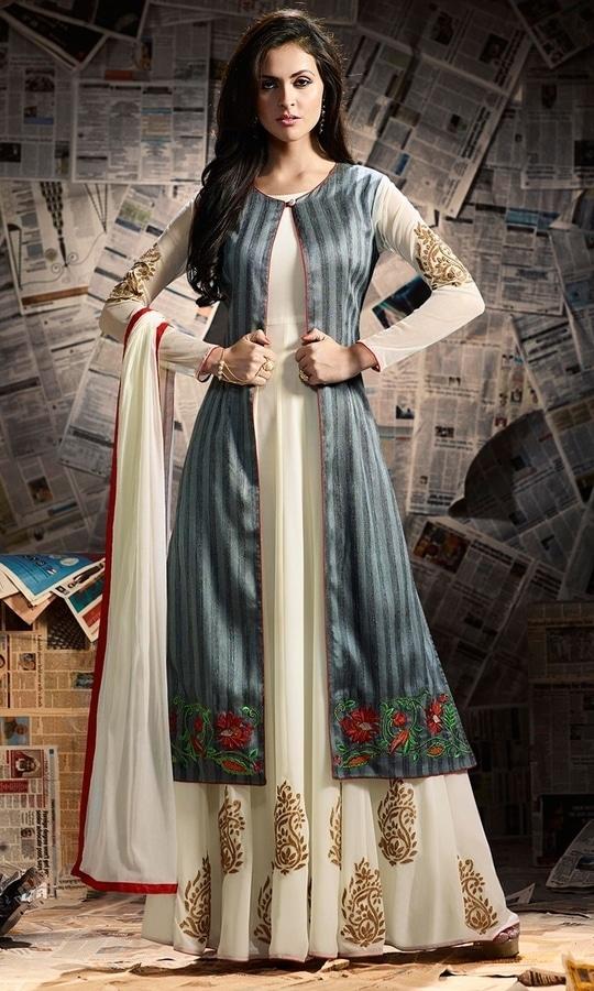 Party Wear Cream Designer Salwar Suit  • Party wear Frock Suit • Fabric : Banarasi Silk • Bottom Fabric : Shantoon • Dupatta Fabric : Chiffon • Inner Fabric : Shantoon • Size : Semi-Stitched (customizable Upto size-44)  SKU: SUEMUG1136 Rs. 3,199  #styles #beauty #love #followme #roposo #fashion #model #indian