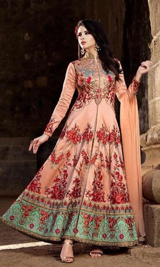 Peach Designer Party Wear Anarkali Suit  • Designer Floor Length Frock Suit • Fabric : Net • Salwar Fabric : Santoon • Dupatta Fabric : Chiffon • Size : Semi-Stitched (customizable Upto size-44)  SKU: SUENMBE1579 Rs. 7,099  #styles #beauty #love #followme #roposo #fashion #model #indian