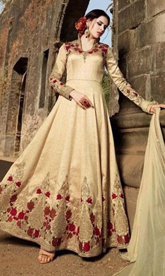 Beige Designer Party Wear Anarkali Suit  • Designer Floor Length Frock Suit • Fabric : Net • Salwar Fabric : Santoon • Dupatta Fabric : Chiffon • Size : Semi-Stitched (customizable Upto size-44)  SKU: SUENMBE1581 Rs. 6,299  #styles #beauty #love #followme #roposo #fashion #model #indian
