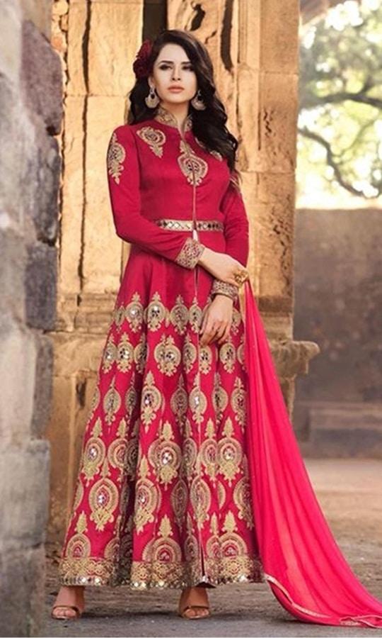 Red Designer Party Wear Anarkali Suit  • Designer Floor Length Frock Suit • Fabric : Net • Salwar Fabric : Santoon • Dupatta Fabric : Chiffon • Size : Semi-Stitched (customizable Upto size-44)  SKU: SUENMBE1575 Rs. 6,199.00  #styles #beauty #love #followme #roposo #fashion #model #indian