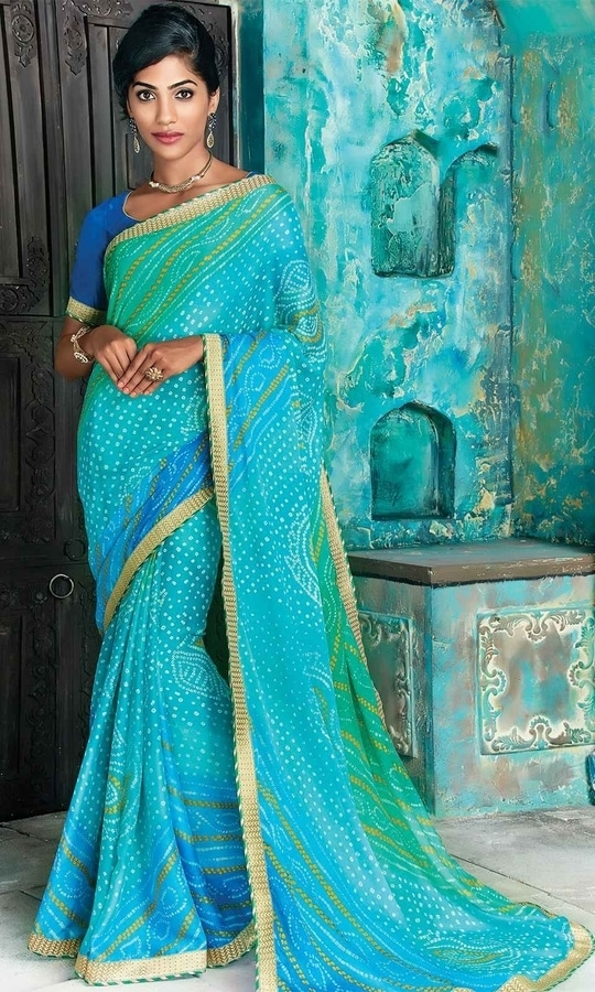 Blue and Green Bandhani Saree  • Bandhej Print Georgette Saree • Saree Fabric : Georgette • Blouse Fabric : Dupion Silk • Specification: Saree length is 5.5 meters; Saree width is 110 cm; Blouse fabric length is 80 cm. • Blouse is as shown in the picture. In-skirt fabric is not included. • Stitching: Unstitched blouse. Blouse can be stitched upto Size 44.  SKU: SAPVP17008 Rs. 1,799.00  #styles #beauty #love #followme #roposo #fashion #model #indian