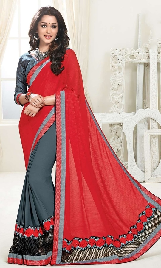 Grey and Red Heavy Border Saree  • Heavy Border Party Wear Saree • Saree Fabric : Georgette • Blouse Fabric : Georgette • Specification: Saree length is 5.5 meters; Saree width is 110 cm; Blouse fabric length is 80 cm. • Blouse is as shown in the picture. In-skirt fabric is not included. • Stitching: Unstitched blouse. Blouse can be stitched upto Size 44.  SKU: SAEVCHT6086 Rs. 1,999  #styles #beauty #love #followme #roposo #fashion #model #indian