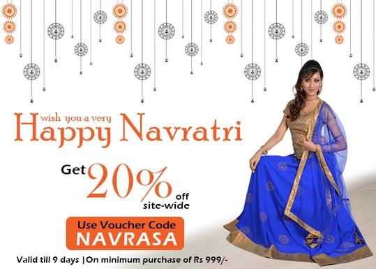 Happy Navratri - Get 20% off!  https://9rasa.com/  #9rasa #studiorasa #ethnicwear #ethniclook #fusionfashion #online #fashion #navratri2017 #navratrioffer #offeroftheday