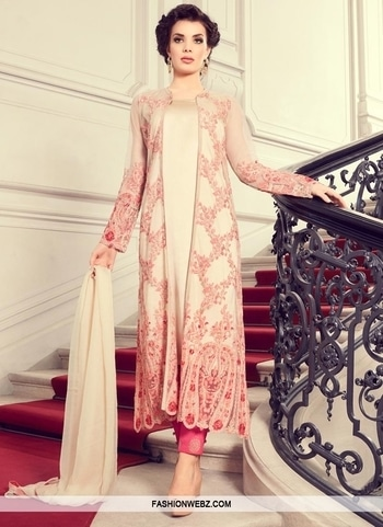 JACKET STYLE SALWAR KAMEEZ Look #ethnic in this #cream #net and #satin jacket #style #salwarkameez. This attire is encrafted with #embroidered, #floral, #resham and stone work.  Product Code: 44145 Rs4,090 View @ https://goo.gl/q9mUe3 #fashion #onlineshopping #indianwear #designerdresses #festival #womenswear #georgette #jacketstyle #fashionsale #bestoffer #online #boutique #indianfashion #bestdeal #exclusive #fashionable