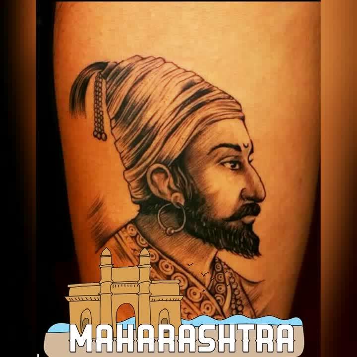 I was bit late to up load the post  loved making shivaji Maharaj ji tattoo with lines n shading effect  tattoo by shiva  @ skylertattoo&piercingstudio #maharashtra #tattoos