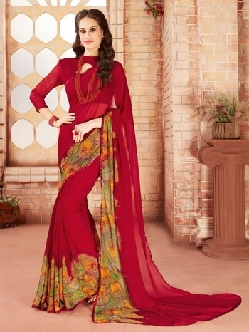 ✔ Redsparrow #Maroon #Georgette #Designer #Festive #Wear #Saree ✔ Shop @ https://goo.gl/6H2GKP  ✔ Price : Rs. 1349/- ✔ Product Code : ISF7665RE39 ✔ Call or Whatsapp : 9643888188