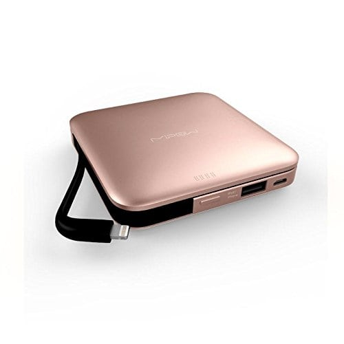 "Apple MFi Certified - MIPOW POWER CUBE 9000 Portable External Battery Pack / Power Bank / Backup Charger with 9000mAh, USB and Lightning output for Apple, Android and other smart phones, tablet PCs (Rose Gold)         APPLE STORES SALE AT THE SAME TIME - MIPOW are the first Asia power bank brand whose power banks launch in Apple stores and sell well, you can easily find the POWER CUBE 9000 in Apple stores in Hong Kong, Australia, Singapore and Japan.     BUILT-IN LIGHTNING CONNECTOR -- Apple MFi certified Lightning cable to charge iPhone, iPod and iPad with Lightning connector, no extra cable needed.     EXTRA USB OUTPUT - Supports charging to most mobile devices via original charging cables. Smart Fuse : Smartly protect your device as well as your Power Cube from short circuit.     MICRO USB INPUT -- 1.5A micro USB input to recharge Power Cube 9000. FAST CHARGING- Up to 2.4A USB output to charge mobile phones as well as tablet PCs fast.     Beware of fake products, buy genuine products from ""Starone Electronics""   http://amzn.to/2z4frhf"