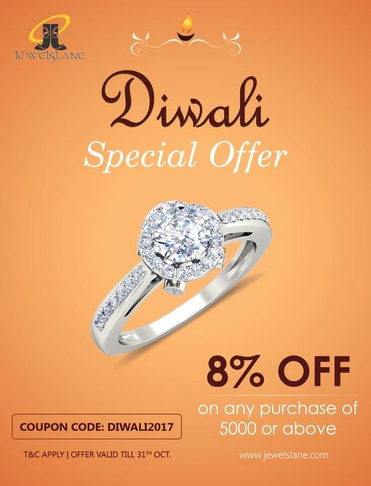 Get FLAT 8% OFF this Diwali on wide range of diamond jewellery.. T&C apply. #diwaligifts #diwalioffers #diwali2017 #diwalijewelry #jewelslane