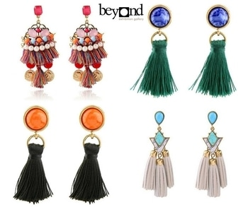 Match up with your outfit and slay all day...  Shop now only at www.beyondgallery.com  #Fashion #Love #Style #BeyondGallery #Festival #Diwali #OOTD #Designer #Collection #Special #NewYear #Diwali2017 #Tassel #Earrings #Latest
