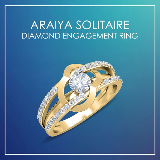 Araiya Solitaire Diamond Engagement Ring in 14k gold in a contemporary design. #diamondRing #SolitaireRing #EngagementRing #GoldRing #jewelslane