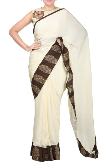 Beige block print and embroidery blouse paired with beige block print saree #thehlabel #saree #blouse #embroideryblouse  #embroidery #blouse #blockprint #block #print