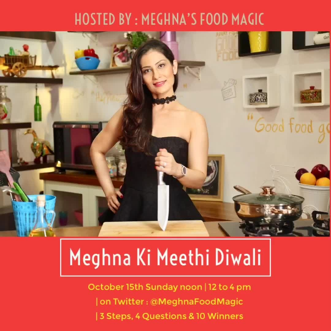 Contest Alert. 3 Steps, 4 Questions & 10 Winners. Follow me on Twitter : @MeghnaFoodMagic . Hurry up contest starts at 12 noon. 💋💋💋 Love M. #ChefMeghna  #contest