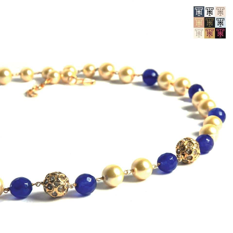 Imbue a sense of mystique with this neck piece in a combination of royal blue, pearl and gold. Place an order here: 9810-333-980. #TuskNHammers #TNH #Jewellery #Bracelets #Jewelry #Necklaces #Rings #ShopNow #ShopOnline #India #Shopping #GlobalShopping Website launching soon!