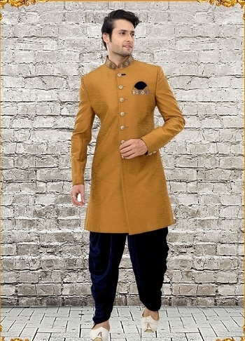 LATEST TREND MUSTARD JUTE SILK INDOWESTERN SHERWANI https://www.gravity-fashion.com/latest-trend-mustard-jute-silk-indowestern-sherwani-j17823.html