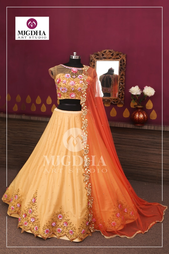 Gorgeous Lehenga in classy color and beautiful hand made design from the house of Mugdha Art Studio. we can customize the color and size as per your requirement.  Product code-LHG 312 To Order with us : WhatsApp: +91 8142029190 / 9010906544