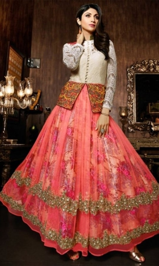 OffWhite and Pink Long Designer Anarkali Suit  • Floor touch Designer Anarkali Suit • Heavy Embroidery and Stone work • Fabric : Raw Silk, Net • Dupatta Fabric : Pure Chiffon • Salwar & Inner Fabric : Shantoon (Unstitched Fabric) • Size : Semi-Stitched(can be customized Upto size-44)  SKU: SUEKR2319_7023 Rs. 5,499  #Anarkali #suit
