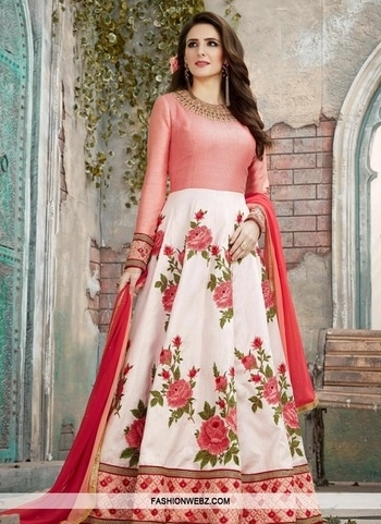 EMBROIDERED WORK LONG LENGTH ANARKALI SALWAR SUIT Pamper the #women in you with this #beautiful #offwhite & #tomato #artsilk #longlength #anarkali #salwar #suit This attire is beautifully adorned with #embroidered, #floral, #patchborder, #resham and stone work. Comes with matching bottom and dupatta.  Product Code: 44605 INR Rs7,841 More Details @ https://goo.gl/zNsr8c #indianfashion #ethnicwear #shopping #onlineshopping #fashion #fashionista #trends #style #womenstyle #shoponline #designersuits #pantstyle #weddingwear #womensstyle #womenswear