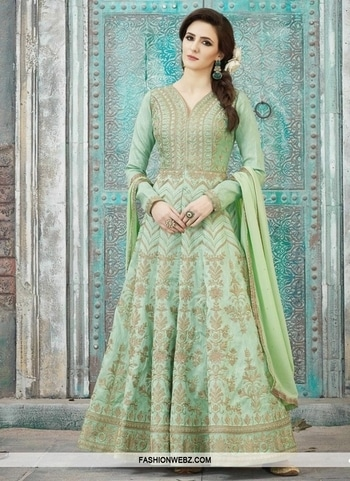 ART SILK FLOOR LENGTH KALIDAR SUIT Spread the aura of freshness with this #mintgreen #artsilk #floorlength #kalidarsuit showing a touch of sensuality. The #embroidered, #resham, #sequins and #zari work looks chic and perfect for any occasion. Comes with matching bottom and dupatta.  Product Code: 44604 INR Rs7,288 Shop Now @ https://goo.gl/aSyC1g #embroidered #patterns #ethnicfashion #indianfashion #ethnicwear #shopping #onlineshopping #fashion #fashionista #fashiongram #trends#style #womenstyle #anarkalisuit #floral