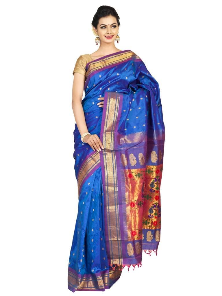 Blue paithani with purple border. Price : ₹16,680.00 or $278.00 To shop now visit www.OnlyPaithani.com  #Traditionalsarees #Picoftheday #Handloomweaving #Bridalcouture #SilksareeIndia #Designerswear #Fashion #Festivalwear #Festivalseason #Cultures