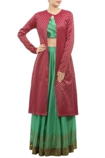 Green Blouse And Lehenga With Brocade Jacket #GreenBlouse #Lehenga  #BrocadeJacket  #Jacket #Green #Blouse