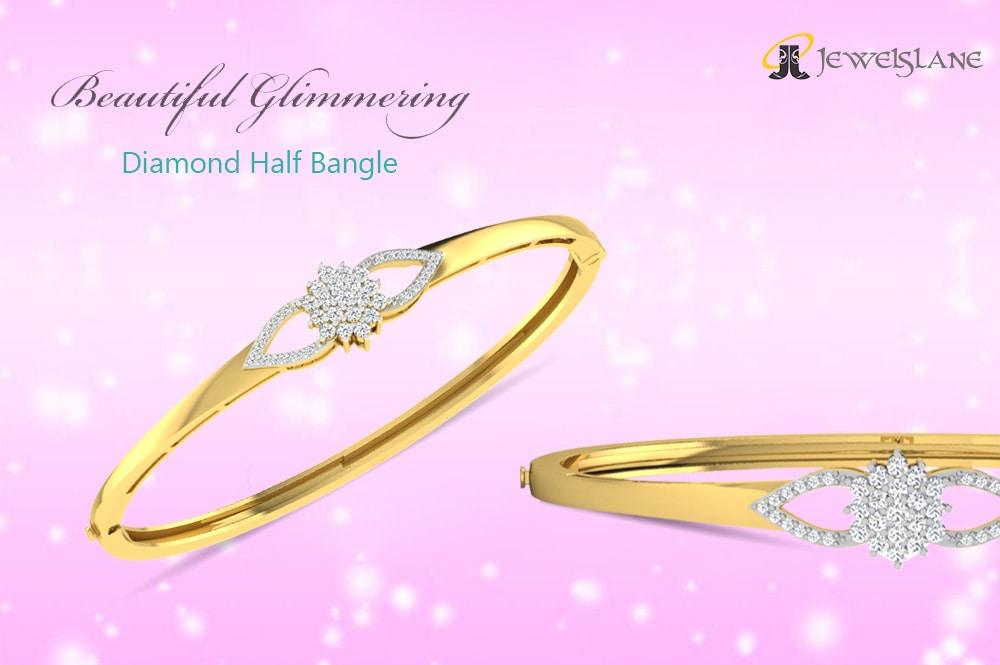 Doris round brilliant cut #Diamond #Half_Bangle set in 14k hallmarked #gold #studded with 39 round diamonds in a design with centre cluster of 21 diamonds