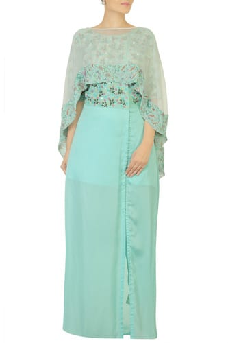Embroidered Blue Dress with Cape & Pants #thehlabel #Embroidered #BlueDress #Cape #Pants  #EmbroideredBlue #DressCape